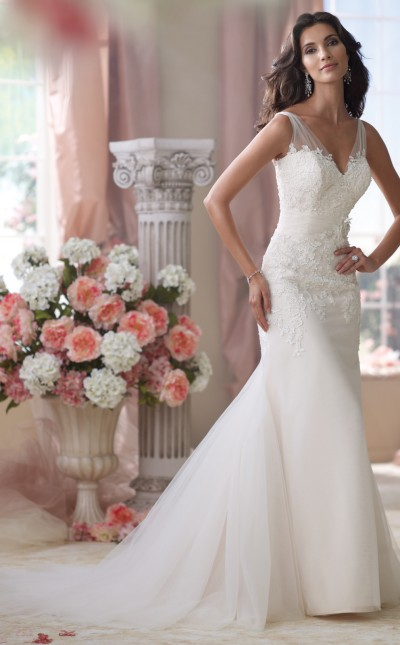 An image of a Mon Cheri fit and flare wedding dress.