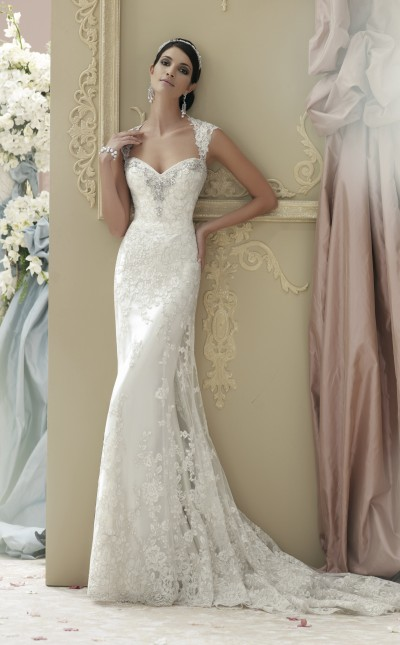 An image of a slim-fitting wedding dress by Mon Cheri. Style number 115229.
