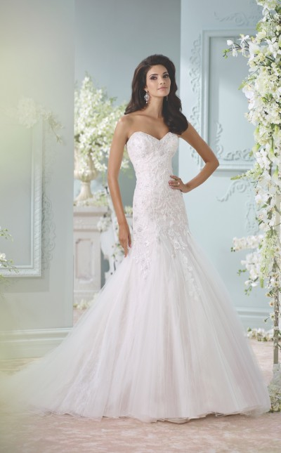 An image of a dropped-waist strapless dress by Mon Cheri. Style number 116224