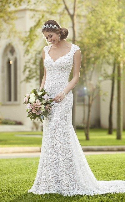 An image of a Stella York, column style, lace wedding dress.