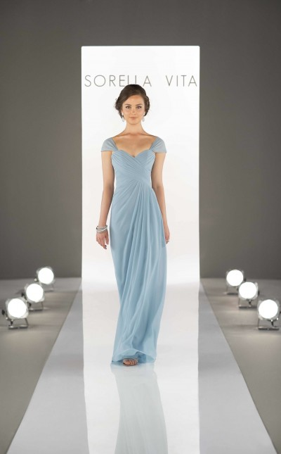 An image of afloor length powder blue bridesmaid dress