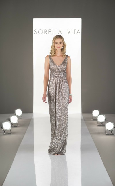 An image of a Sorella Vita, floor length, silver dress with a v-neckline and straps in style number 8686.