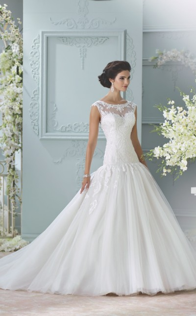 An image of a woman wearing a wedding dress with a fitted bodice and princess skirt by Mon Cheri.