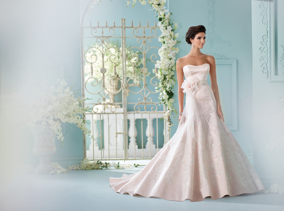 An image of a bride in Blush David Tutera for Mon Cheri in Style 216236, ready for her Bedford wedding.