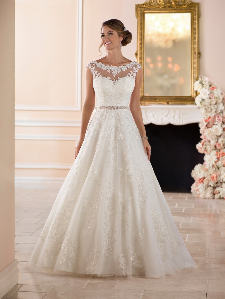 An image of a bride wearing a lace detailed wedding dress by Stella York with style code 6303, in Northampton.
