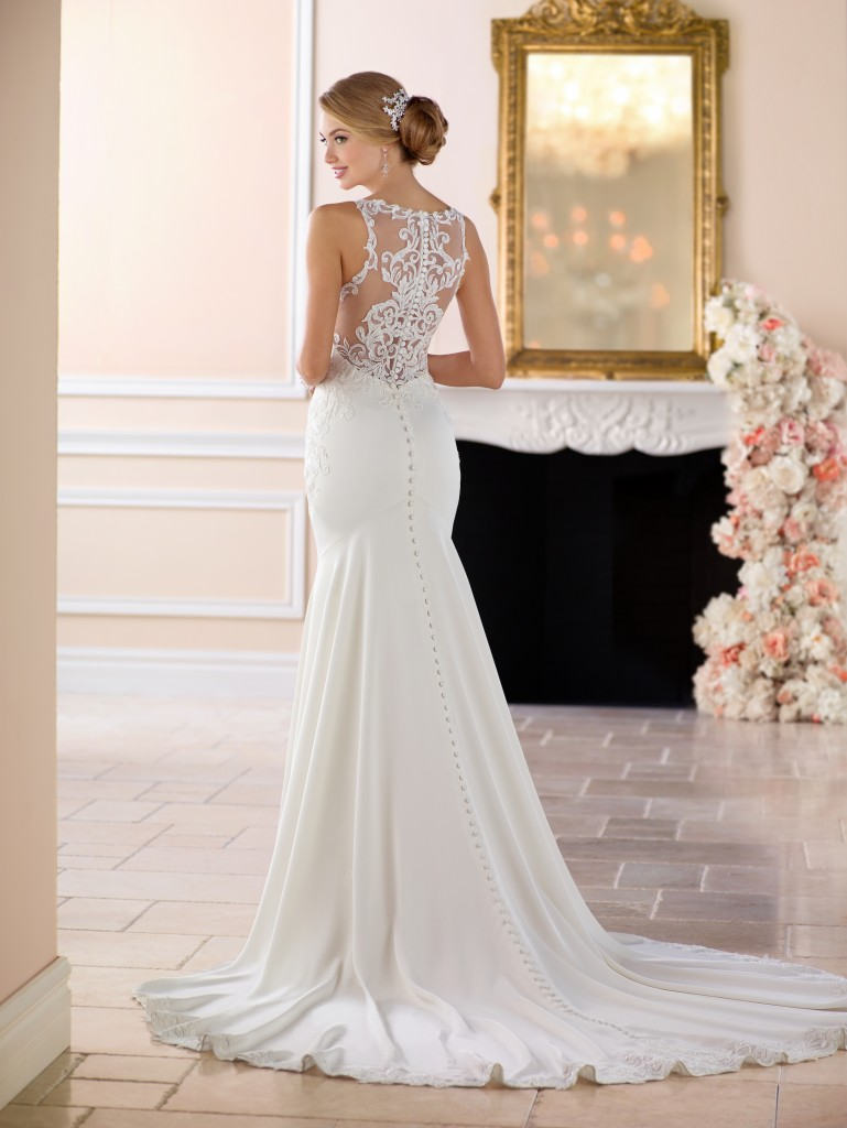 A picture of the back of the Stella York 6404 white wedding dress, modelled in Northampton.