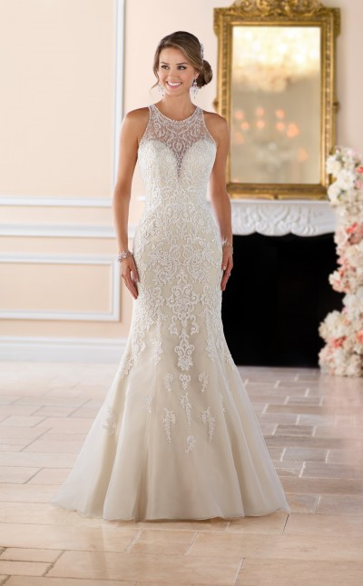 A picture of a stunning embellished Stella York wedding dress with neck detail in Style 6435F, perfect for a wedding in Northampton
