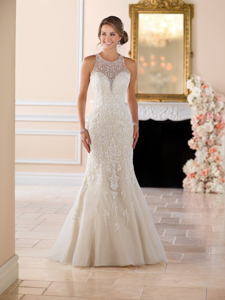 A picture of a stunning, embellished Stella York wedding dress with neck detail in Style 6435F, perfect for a wedding in Northampton.