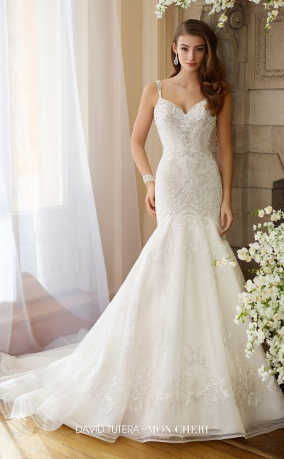 An image of a sleeveless tulle and embroidered lace, trumpet wedding dress, by Mon Cheri in style number 217208.