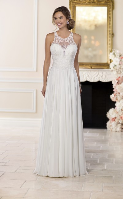 An image of a white chiffon and lace, with a relaxed silhouette by Stella York, in the style number 6542.