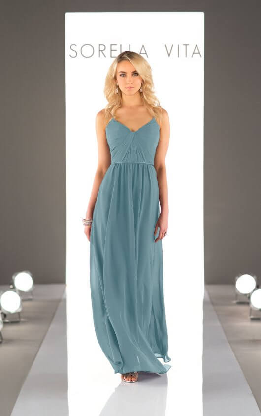An image of a blue-grey, floor length dress by Sorella Vita dress with a v-neckline and thin straps by Sorella Vita in style 8746.