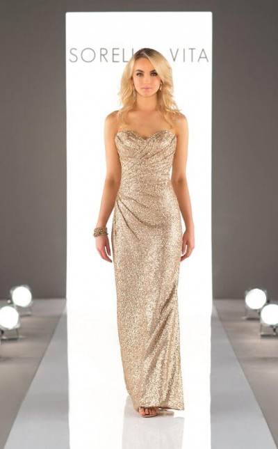 An image of a floor length, gold dress with a sweetheart neckline from Sorella Vita in style number 8794