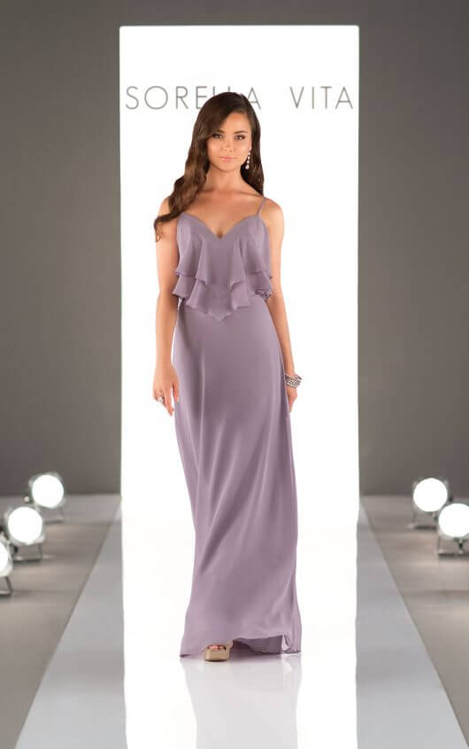 An image of a dusty purple, floor length dress by Sorella Vita with front detail and thin straps.