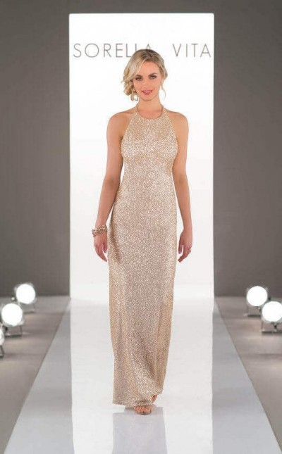 An image of a gold, sequin bridesmaid dress by Sorella Vita, complete with a high neckline and unique back draping in style number 8846.