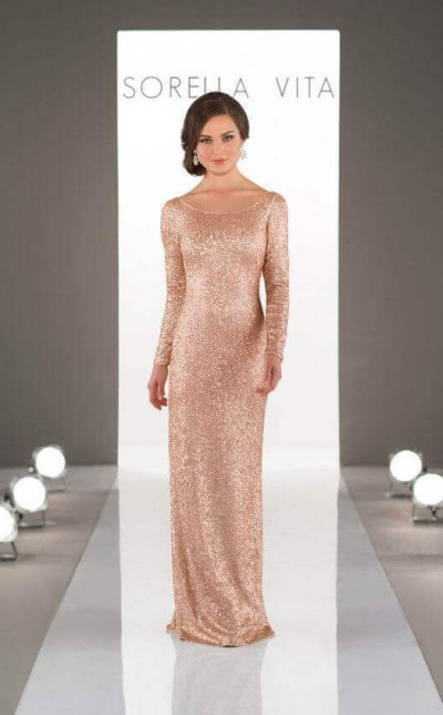 An image of a long sleeved, gold wedding dress with a low scoop back, in style number 8848.