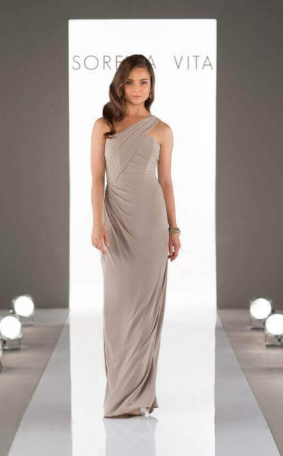 An image of one-shoulder bridesmaid dress from Sorella Vita with a flattering sheath silhouette in style number 8852.