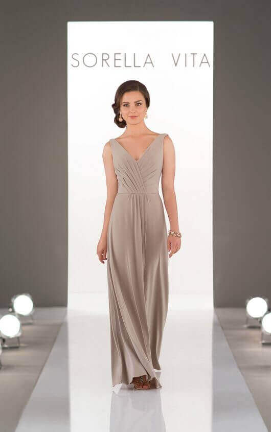 An image of a flowing, boho style bridesmaid dress from Sorella Vita, with shoulder straps and a v-neckline in style number 8862.
