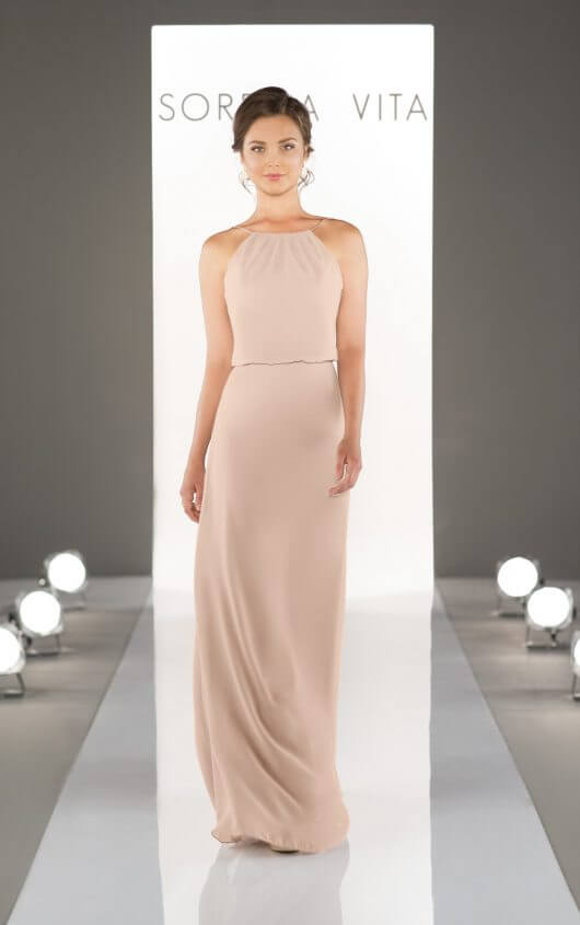 An image of a Sorella Vita, floor length, bridesmaid dress in pale pink, with thin shoulder straps and a high neckline, in style number 8872.