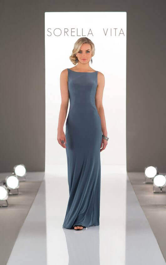 An image of a Sorella Vita, floor length bridesmaid dress in the colour slate, in style number 8880.