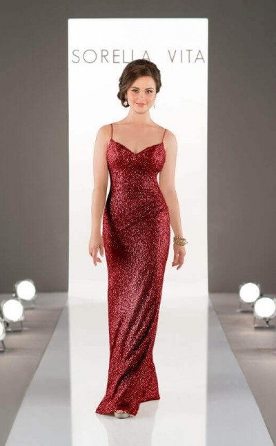 An image of a floor length, red, sequin wedding dress with a v-neckline and thin shoulder straps. The dress is in style number 8884.