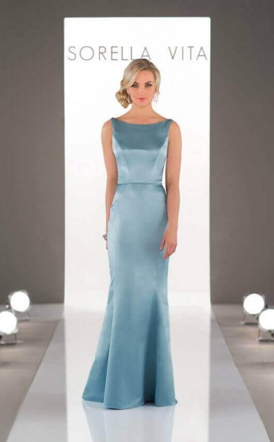 An image of a floor length, Sorella Vita bridesmaid dress in the colour Evening Mist, in style number 8918.