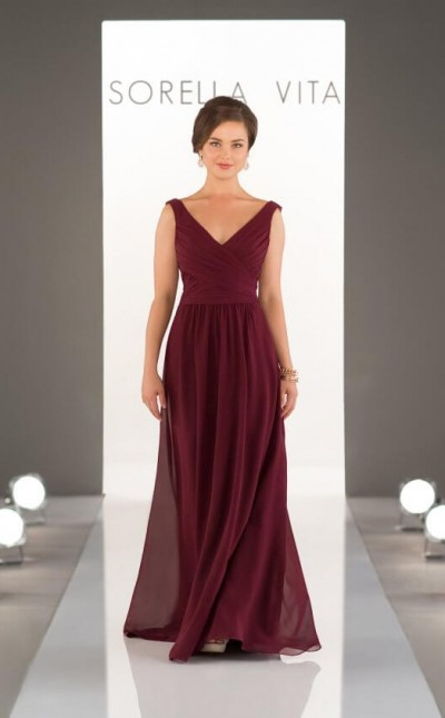 An image of a Sorella Vita, chiffon dress with a v neck , in style number 8932