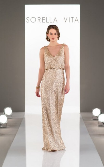 An image of a gold, sequin, deep v-neck and back Sorella Vita bridesmaid dress.