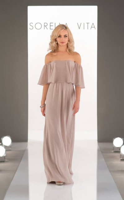 An image of an off the shoulder, Sorella Vita, boho bridesmaid dress in style number 8944