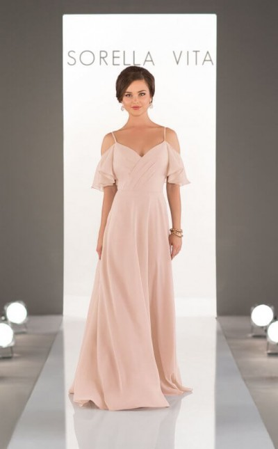 An image of a Sorella Vita bridesmaid dress, with a criss cross v neck, thin shoulder straps and off the shoulder details, in style number 8960.