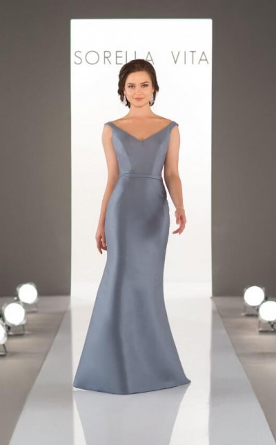 An image of a capped sleeve, Sorella VIta bridesmaid dress in the colour Stone Blue, style number 8964