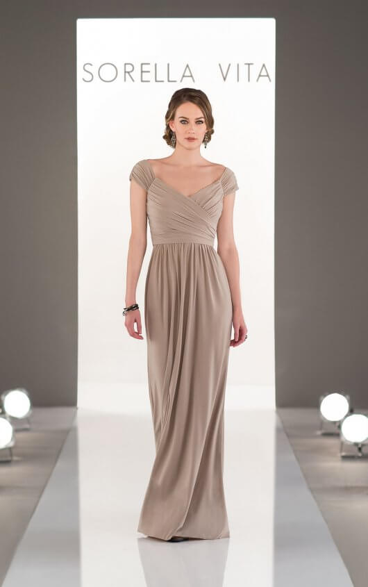 An image of a floor length, Sorella Vita bridesmaid dress with capped sleeves, in styel number 8968 and colour Stardust.