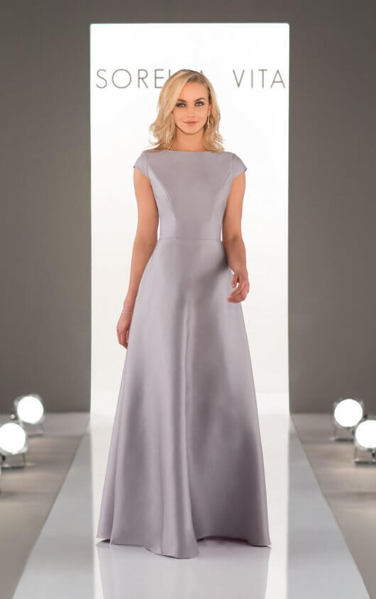 An image of Sorella Vita, open back bridesmaid dress with a high neckline in style number 8980.