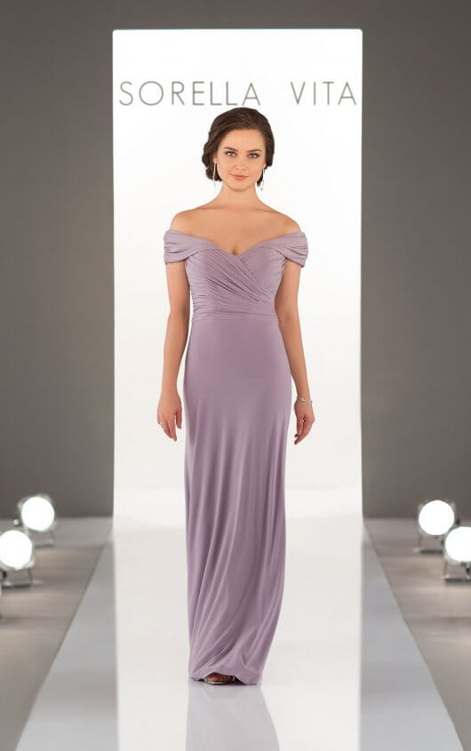 An image of an off the shoulder, boho bridesmaid dress from Sorella Vita in the colour thistle and in style number 8996.