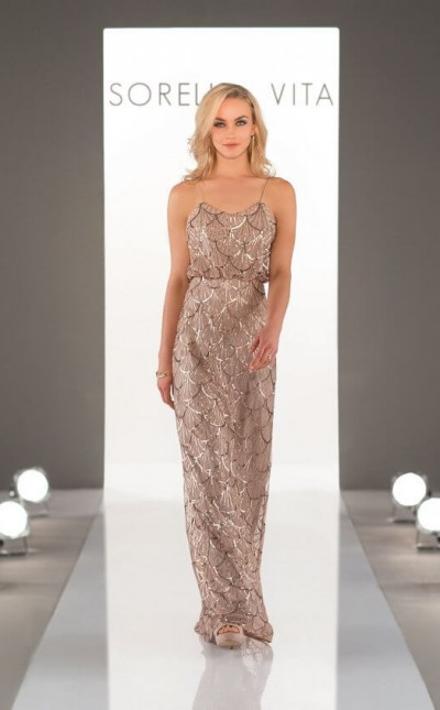 An image of a gold, sequin bridesmaid dress, with thin shoulder straps, in style number 9018.