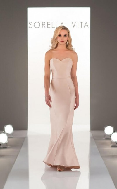 an image of a strapless, Sorella Vita bridesmaid dress in the colour pink champagne. Style number 9058.