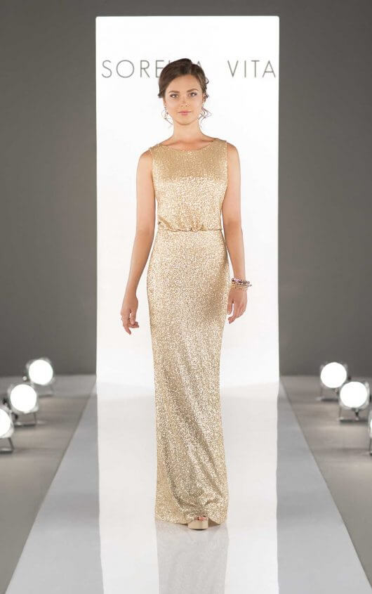 An image of a floor length, gold, formal dress by Sorella Vita, in style number Style 8824 with thick gold straps.