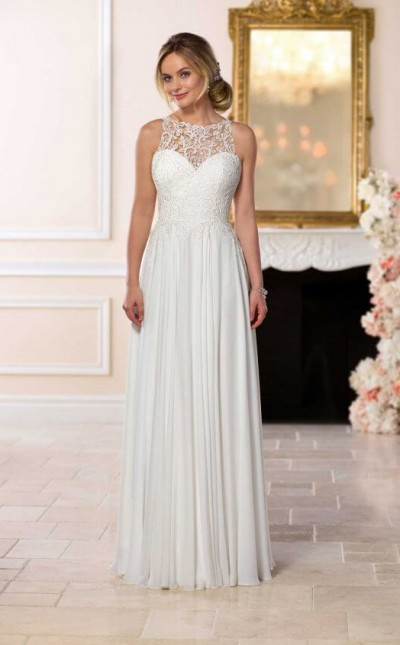 An image of a white chiffon wedding dress with a halter neck neckline, in the style number 6593.