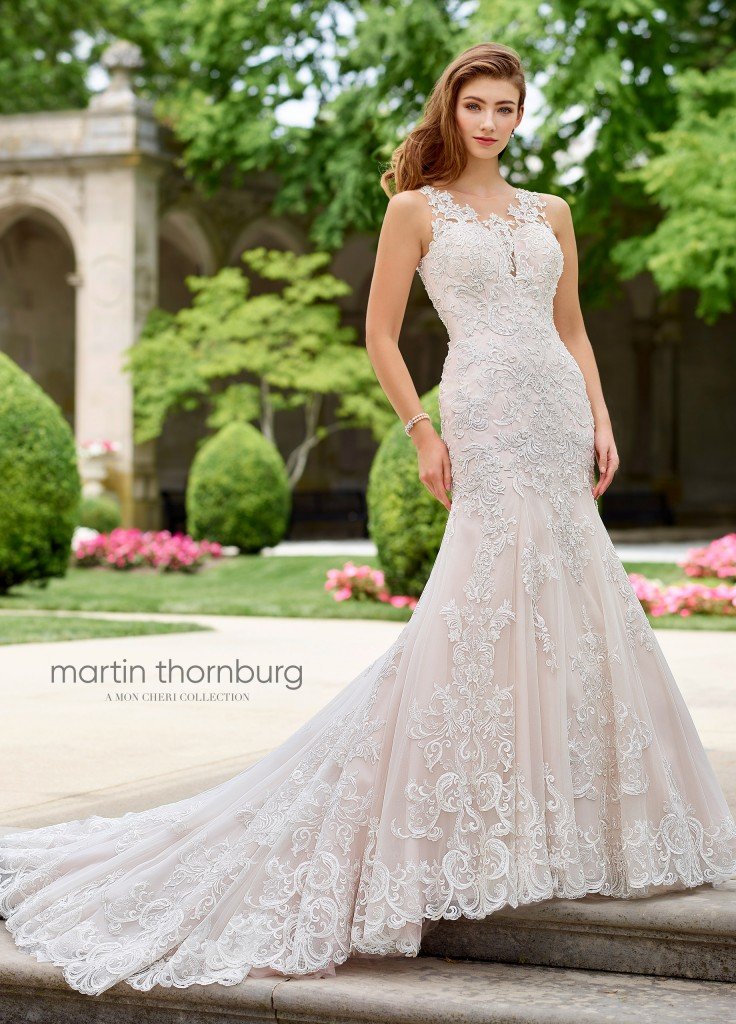 An image of a sleeveless tulle and lace wedding dress by Mon Cheri in the style 118275.