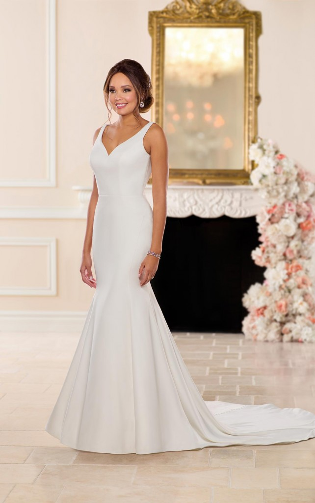 An image of a plain white wedding dress in dove stain by Stella York, in style number 6742.