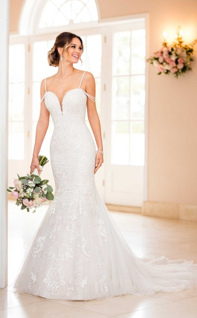 An image of a Stella York mermaid wedding dress with beaded straps, in the style number 6743.