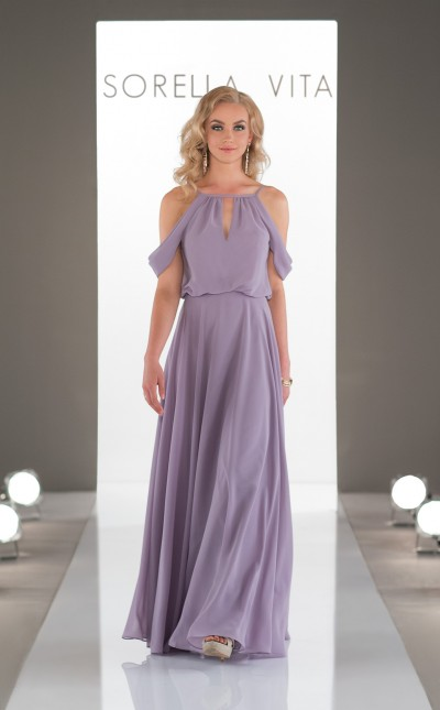 An image of a floor length, Sorella Vita formal dress in the colour dusty lavender, complete with thin shoulder straps, and off the shoulder details. Style number 8818.