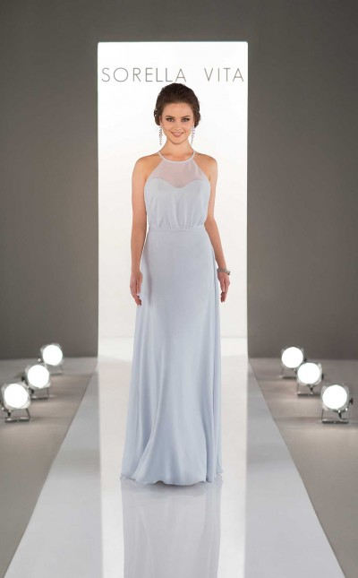 An image of a Sorella Vita bridesmaid dress, with a high neckline and thin shoulder straps, in the colour arctic blue and style number 8996.