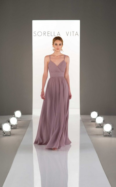 An image of a v neck bridesmaid dress with shoulder straps in the colour rosewood and style number 9030.