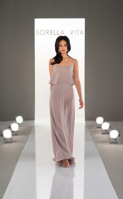 An image of a chiffon, boho bridesmaid dress from Sorella Vita in style number 9036.
