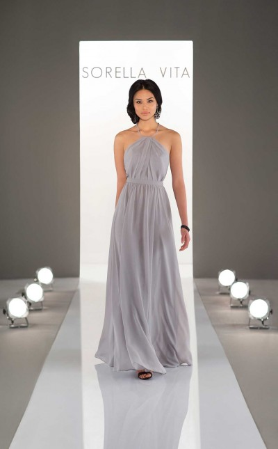 An image of a chiffon, high neckline bridesmaid dress with a draped back, from Sorella Vita, in style number 9048.