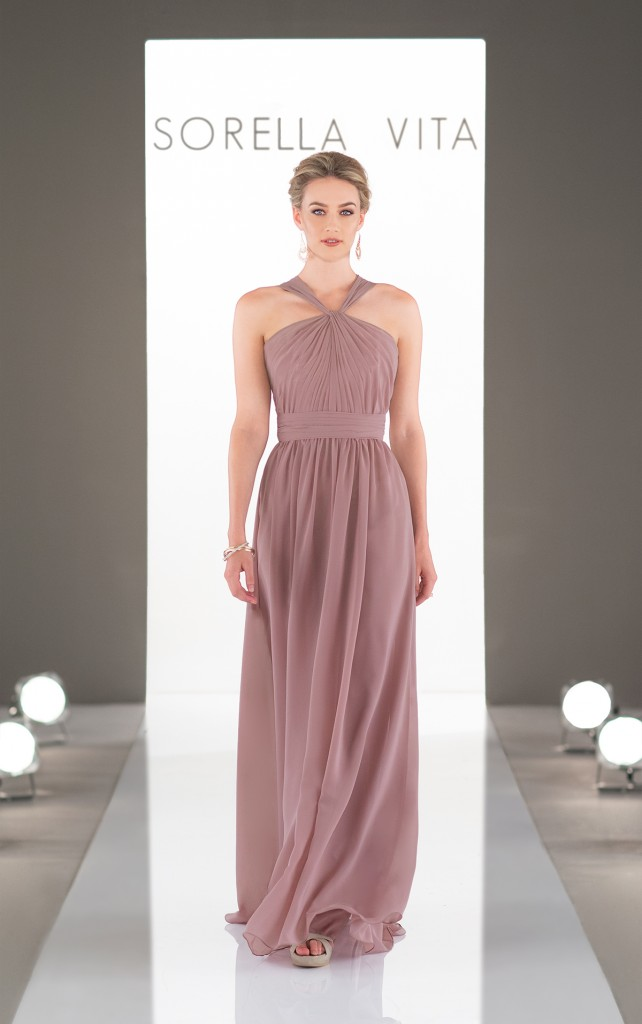 An image of a halter neck bridesmaid dress, with a chiffon skirt from Sorella Vita in style number 9050.