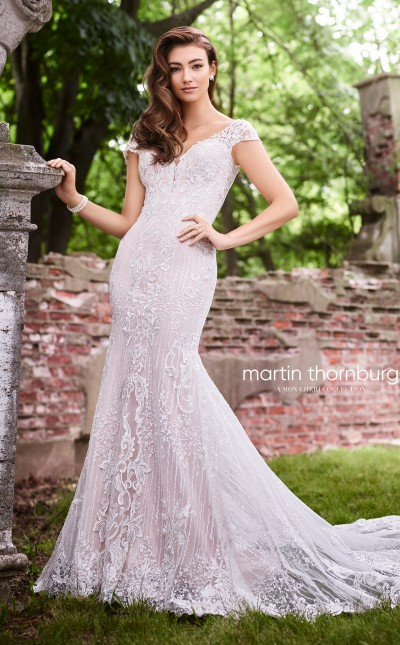 An image of a fit and flare lace, sequin gown by Mon Cheri in the style number 119269.