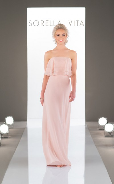 An image of a Sorella Vita, strapless, boho bridesmaid dress nin the colour blush and style number 9026.