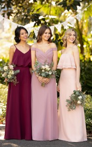 An image of three bridesmaids wearing three different Sorella Vita bridesmaids dresses.